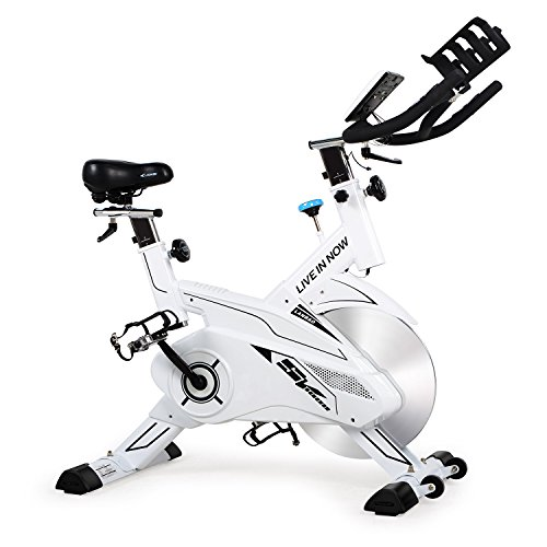 L NOW CycleFire LD-582 Health & Fitness Indoor Stationary Cycling Bike with Pulse for Aerobic and Cardio Exercise and Training(White)