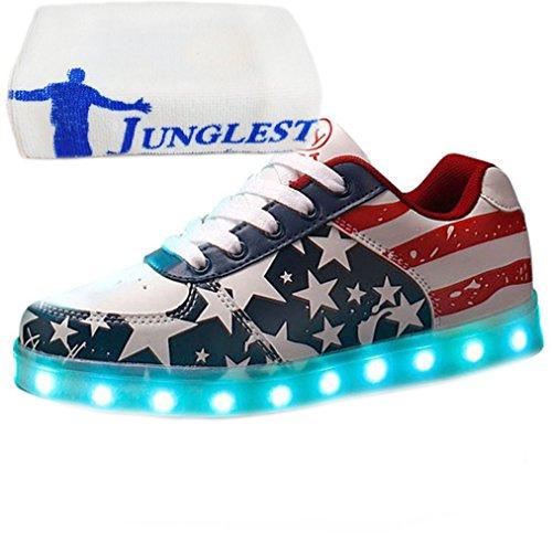 [Presente:peque?a toalla]Plata EU 37, Ninos JUNGLEST? Brillante Para Colores Carga Por Unisex Zapatos Chica 7 Con Luz
