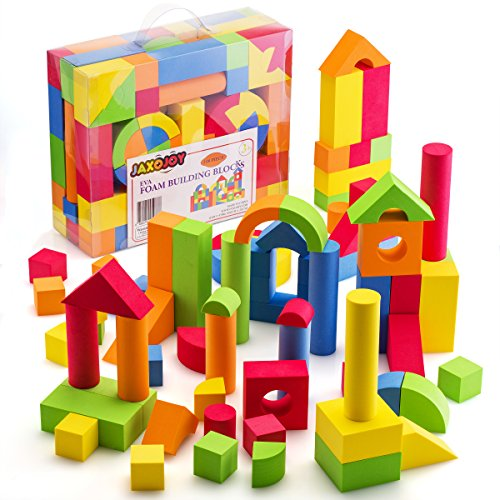 JaxoJoy Foam Building Blocks – 108 Piece EVA Foam Brick Gift Playset for Toddlers Includes Large, Soft, Stackable Blocks in Variety of Colors, Shapes & Sizes – Recommended Ages 3+ (Foam Brick Blocks)