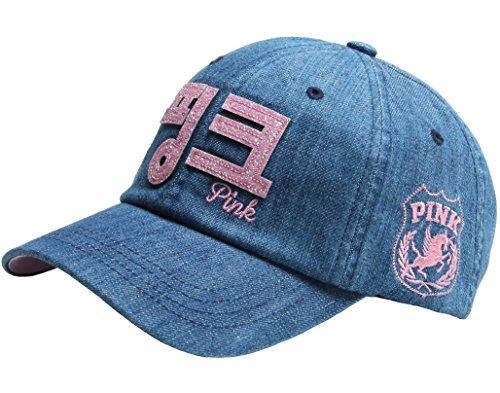 RaOn B53 New Pink Emblem Women Sexy Twinkle Club Lady Ball Cap Baseball Hat Truckers (Korea-Denim)