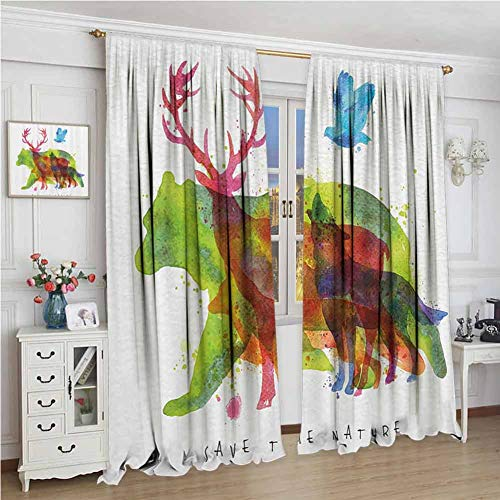 GUUVOR Animal Decor Shading Insulated Curtain Alaska Animals Bears Wolfs Eagles Deers in Abstract Colored Shadow Like Print Soundproof Shade W108 x L96 Inch Multicolor