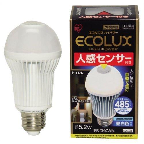 アイリスオーヤマ LED電球 人感センサー付 《エコルクスハイパワー》 一般電球タイプ 40W形相当 全光束485lm 昼白色相当 E26口金 LDA5N-H-S3