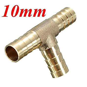 JenNiFer 6mm 8mm 10mm 12mm Brass T Piece 3 Way Fuel Hose Joiner Connector For Air Oil Gas 10mm