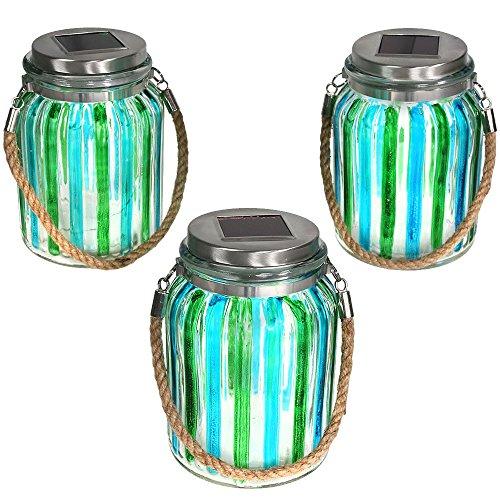 Sunnydaze Blue and Green Striped Solar Lantern Glass Jar Light with White LED String Lights, Set of (White 3 Led Cylinder)