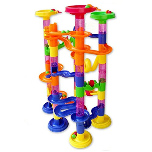 [Marble Run Coaster 105 Piece Set with 75 Building Blocks+30 Glass Race Marbles, CEStore Learning Railway Construction DIY Constructing Maze Toy Game for All Family [Non-toxic tasteless &] (Diy Family Costumes)