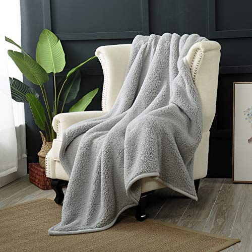 "Reafort Ultra Soft Double Layer Sherpa Oversized Throw Blanket (Silver Grey, 60""X70 Throw) -"