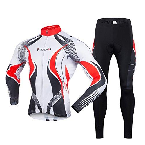 Gwell Maillot de Cyclisme Homme Manches Longues Blanc Rouge + Pantalon Noir Pour Printemps été