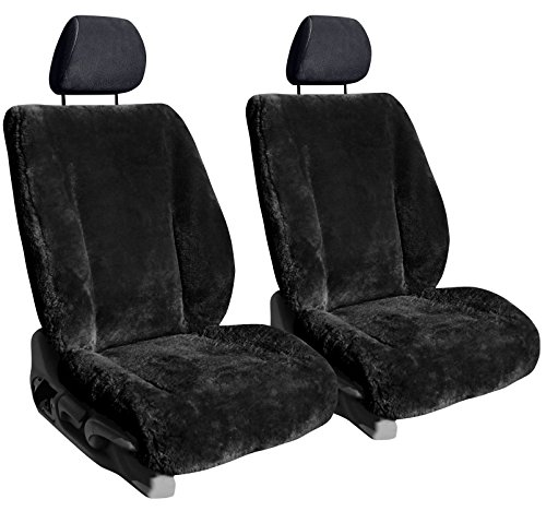 Front Seats: ShearComfort Custom Sheepskin Seat Covers for Dodge Neon (1995-1997) in Black for Buckets w/Adjustable Headrests