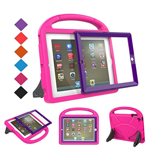 (BMOUO Kids Case for iPad 2 3 4 (Old Model) - Built-in Screen Protector - Shockproof Convertible Handle Stand Friendly Kids Case Cover for Apple iPad 2nd 3rd 4th Generation - Rose Purple)