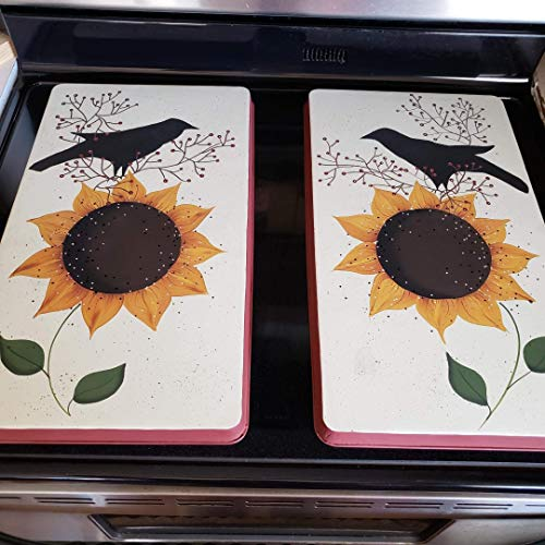 Primitive Country Decor Sunflower Crow Farmhouse Stainless Steel Stove Burner Cover Set of 2 for $<!--$64.85-->