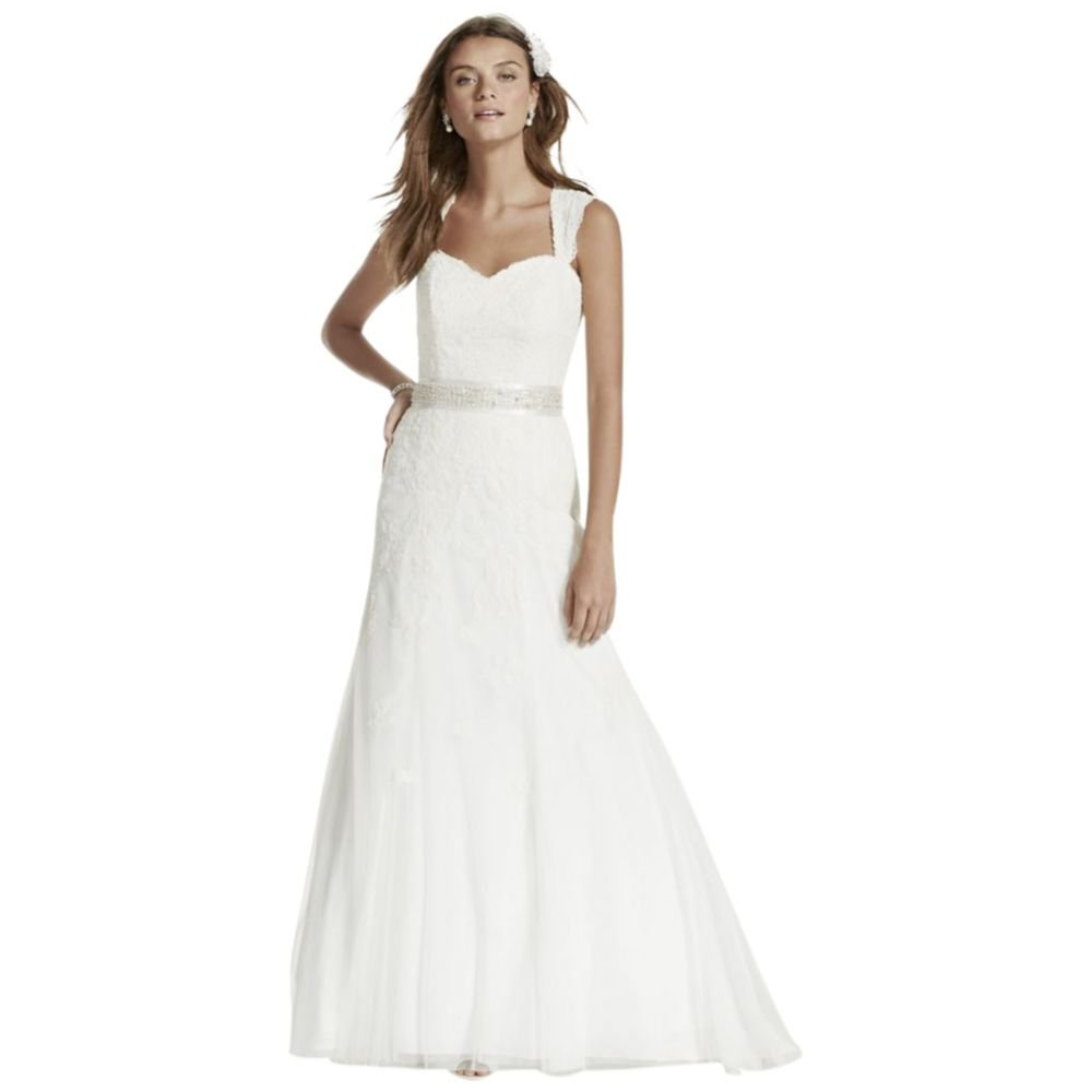 Davids Bridal Petite Cap Sleeve Wedding Dress All Over Lace Style