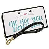 Wallet Clutch Hip Hop You Don't Stop Easter Bunny Face with Removable Wristlet Strap Neonblond