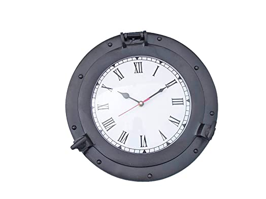 Oil Rubbed Bronze Deluxe Class Porthole Clock 12 – Black – Nautical Wall Clock