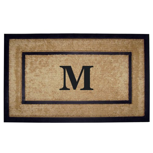 Nedia Home Single Picture Black Frame with Coir Rubber Border Dirt Buster Mat, 22 by 36-Inch, Monogrammed M