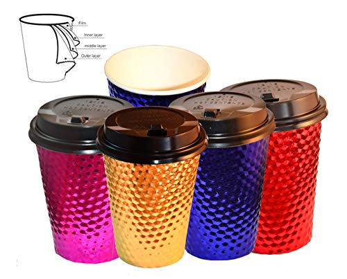 Disposable Hot Paper Coffee Cups, Christmas Party Cups, Disposable Tea Cups, Chocolate Cups - Hot and Cold Insulated Drink Cups and Lids, 12oz (48 Lids+48 Cups= 96 Pack)
