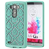 GreatShield® LG G3 Case [TACT Armor][CornerGuard | Shock Absorption] Slim Protective Hybrid Case Cover for LG G3 (Damask - Teal)