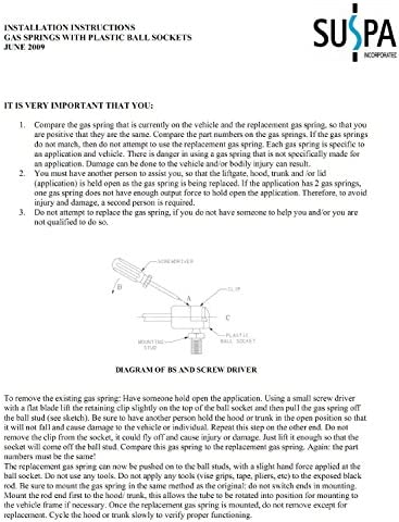 """Force 28 Lbs Per Prop Quantity 2 Forc Suspa C16-08941 C1608941 16/"""" Gas Prop"""