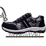 JACKSHIBO Mens Womens Work Safety Shoes, Breathable Outdoor Steel Toe Footwear Industrial and Construction Shoes,Hiking Shoes,Black 44
