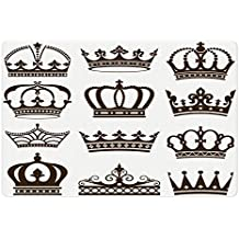 Ambesonne King Pet Mat for Food and Water, Symbol of Royalty Crowns Tiaras for Reign Noble Queen Prince Princess Cartoon Desgin, Rectangle Non-Slip Rubber Mat for Dogs and Cats, Army Green