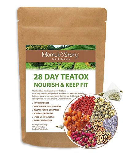 Momoko Story 28-Day Rose Goji Detox Oolong Tea,14 Pyramid Tea Bags & Packet of Nourishing Superfoods to Trim Fat, Boost Energy, Skincare, Non-Laxative, Gentle and (Reduce Weight Fruit)