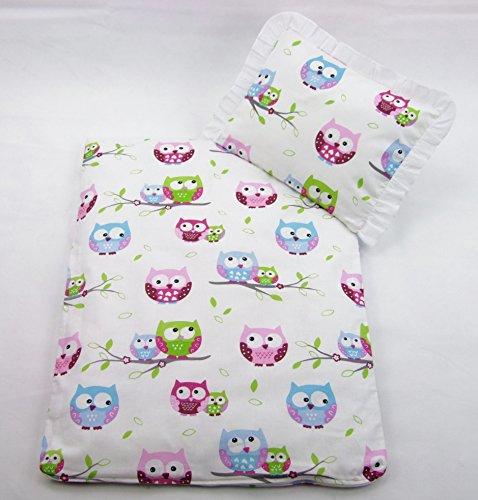 Rawstyle 4 tlg. Set Bezug für Kinderwagen Garnitur Bettwäsche Decke + Kissen + Füllung (Eule Rosa)