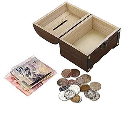 Barclay Wood Piggy Coin Bank, Safe Antique Designs Bank, Coin Bank with Lock, Mini Money Bank, for Kids and Adults - Treasure Chest Design - Handmade (Brown): Home & Kitchen