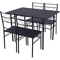 Giantex 5 Piece Dining Table Set 4 Chairs Wood Metal Kitchen Breakfast Furniture Black