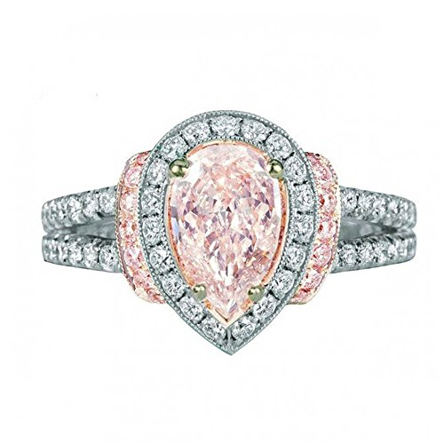 Shusuen ☜ Inlaid Pink Crystal Ring Water Drop Ring Betrothal Ring Ornament Gift Engagement for Lovers from Shusuen