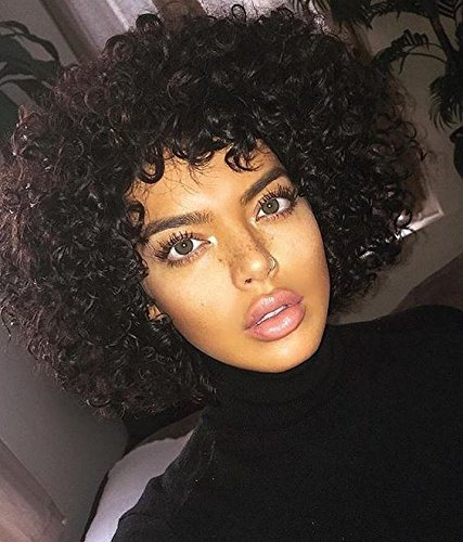 Synthetic Afro Wig For Women Curly Short Bob Black Color None Lace Wigs - Michael Jackson Curly Kids Wig