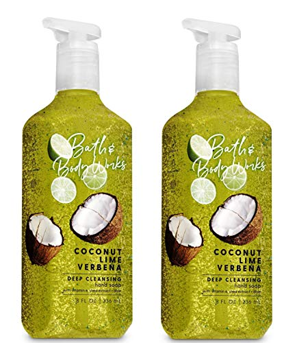 Cleansing Hand Soap - Bath & Body Works Coconut Lime Verbena Soap - Pack of 2 Zesty Lime, Lemon Verbena, and Coconut Water Scented Deep Cleansing Hand Soaps with exfoliating microsphere beads