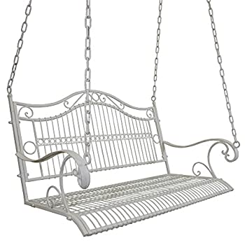 Titan Outdoor Antique Metal Porch Swing Bench Patio Garden Deck White Color