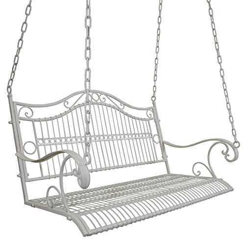 Titan Outdoor Antique Metal Porch Swing Bench Patio Garden Deck White Color For Sale