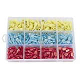Ginsco 300pcs 22-18 / 16-14 / 12-10 Gauge Nylon Fully Insulated Female Spade Wire Crimp Quick Disconnects Wire Terminals Connector Set Red Blue Yellow
