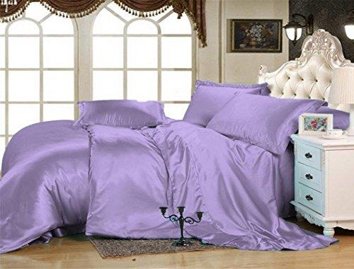 Kanak Bedding Luxurious Ultra Soft Silky Satin 6-Piece (1 Flat Sheet, 1 Fitted, 4 Pillowcases) Bed Sheet Set Queen, Lilac