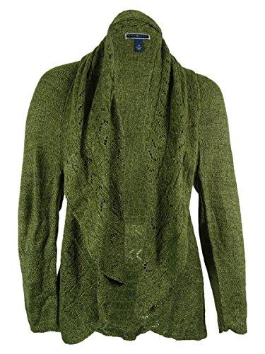 Karen Scott Women's Crochet Knit Open Cardigan Sweater (1X, Dark Sage Marl)