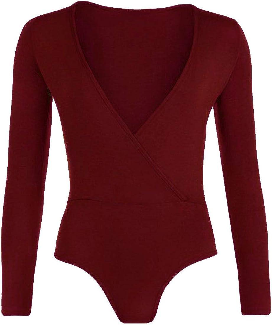 Womens Long Sleeve Cross Wrap Over Plunge V Neck Bodysuit Leotard Top Plus 8-22