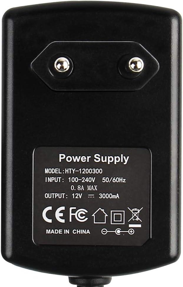 Fuente de Alimentación Regulable DUMVOIN Transformador Universal AC 100-240V To 12V 3A Power Supply Adapter 36W