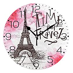 ZZAEO Watercolor Paris Eiffel Tower Pink Printed Round Acrylic Wall Clock Art Frameless Quiet Desk Clock for Kitchen Bedroom Living Room Classroom Home Decor