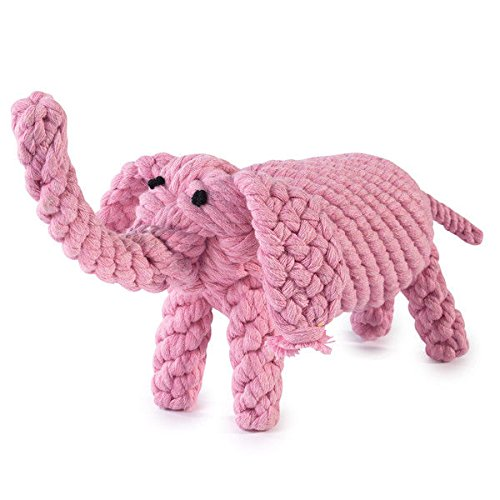 Dog Toys Pink Elephant Shaped Cute Jungle Menagerie Tight Wound Cotton Rope 7