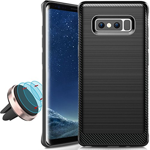 Samsung Galaxy Note 8 Case (Black) 2017, COOLQO Brushed Grip Resilient Strength Flexibility Durability, Durable Anti-Slip, TPU Defensive Cover Skin + Phone Metallic Plate for Any Magnetic Car Mount