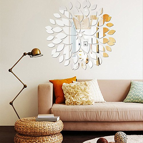 Fashion Leaves Combination Wall Art 3D DIY Acrylic Mirror Wall Sticker for Ceiling Restaurant Sofa Wall Decals Flower Pattern Mirror Effect Stickers Home Decor Decoration (Silver)