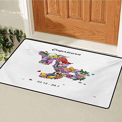 (GUUVOR Zodiac Capricorn Universal Door mat Composition of Blossoming Spring Flowers with Foliage and Butterflies Door mat Floor Decoration W47.2 x L60 Inch Multicolor )