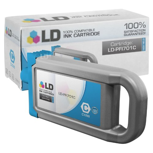 LD © Compatible Replacement for Canon PFI-701C High Yield Cyan Pigment Inkjet Cartridge for use in Canon imagePROGRAF iPF8000, iPF8000s, iPF8100, iPF9000, iPF9000s and iPF9100 Printers ()