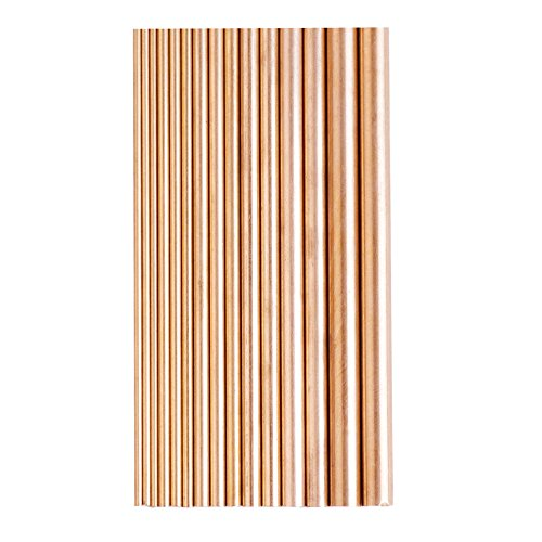 Eowpower 15Pcs Dia 2-8mm Brass Round Rods Bar Assorted for DIY Craft