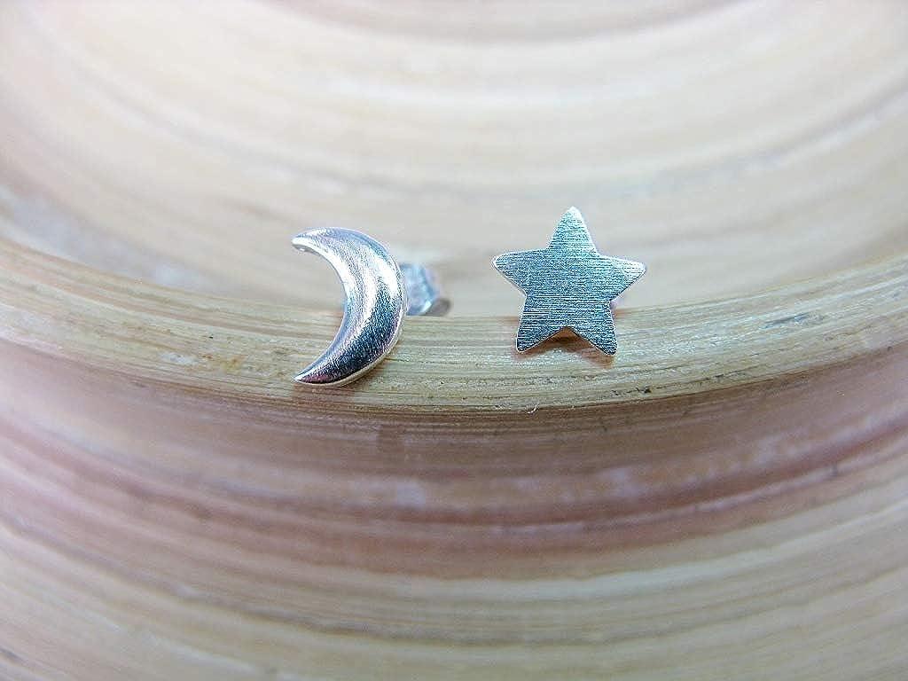 Faithowl Star Crescent Moon 925 Sterling Silver Stud Earrings