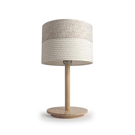 YONGJUN Lámpara de mesa de madera maciza: base de tronco ...