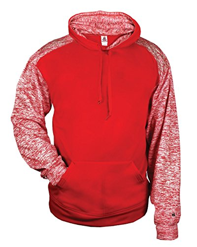 (Red Youth Medium Shoulder & Inner Hoodie Sport Blend Fleece Poly Moisture Wicking Fabric )