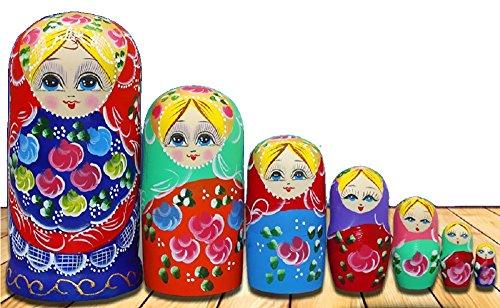 WALAIKA 7pcs Blue Belly Beautiful Girl Russian Nesting Dolls Handmade Wooden Matryoshka Toys The Best Gift for kids