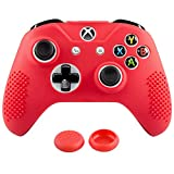 xbox one controller covers - eXtremeRate Soft Anti-slip Red Silicone Controller Cover Skins Thumb Grips Caps Protective Case for Microsoft Xbox One X & One S Controller Red