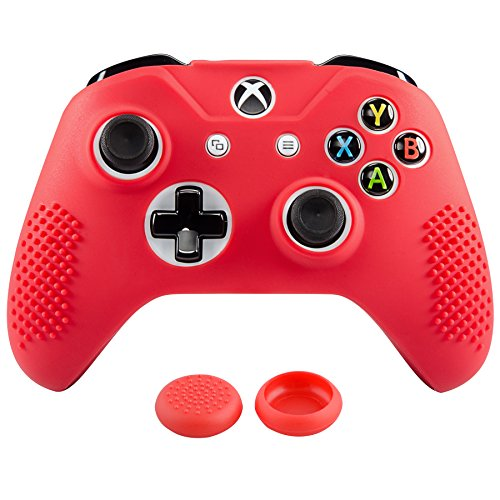 eXtremeRate Soft Anti-Slip Red Silicone Controller Cover Skins Thumb Grips Caps Protective Case for Microsoft Xbox One X & One S Controller Red ()
